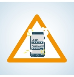 Security system design warning icon protection vector