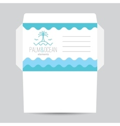 Envelope with palm seagulls island and waves vector