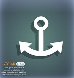 Anchor icon on the blue-green abstract background vector