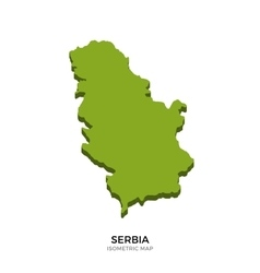Isometric map of Serbia detailed vector image