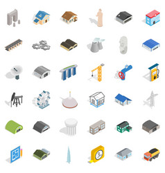 architecture icons set isometric style vector image