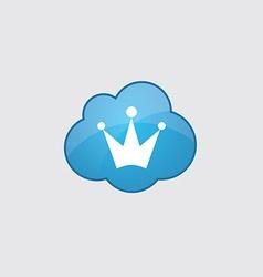 Blue cloud crown icon vector