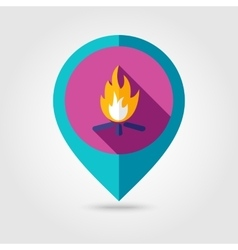 Bonfire flat mapping pin icon with long shadow vector