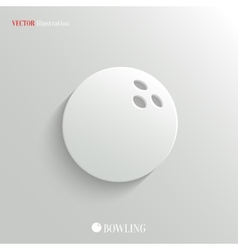 Bowling icon - white app button vector image vector image