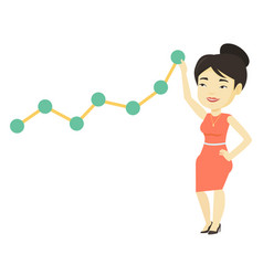 Business woman looking at chart going up vector