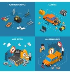 Car service isometric conceptual icon set vector