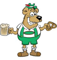 Cartoon bear holding a pretzel and a beer mug vector