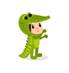 cartoon child in funny crocodile costume boy or vector image