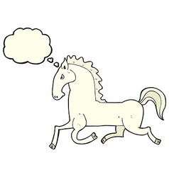 Cartoon running white stallion with thought bubble vector