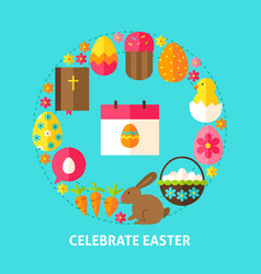 Celebrate easter postcard vector