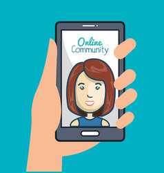 Community online with hand holdign smartphone vector