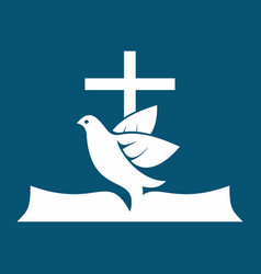 cross dove and bible vector image vector image