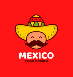 cute happy smiling mexico man face vector image