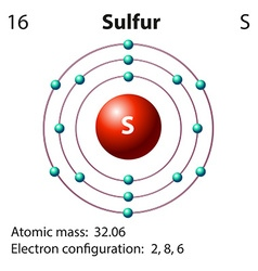 Diagram representation of the element sulfur vector image vector image