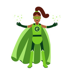 Ecological superhero black woman in green costume vector