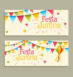 Festa junina celebration banners vector