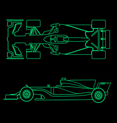 Formula car linear light silhouette of a racing vector
