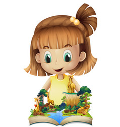 Girl reading book of giraffes in forest vector