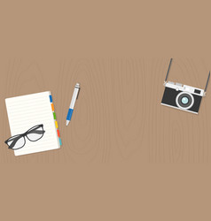 glasses camera and notebook in flat design vector image