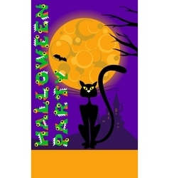 Halloween background with cat moon castle vector