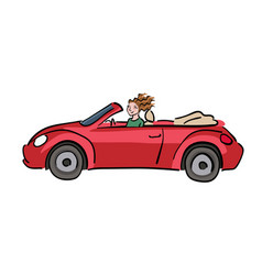 happy woman driving red cabriolet car vector image