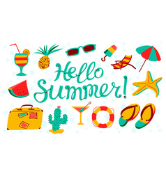 Hello summer lettering beach banner seasonal vector