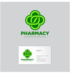 herbal pharmacy homeopathy logo vector image