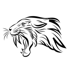 Isolated head of saber tooth tiger - vector image