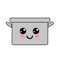 Kawaii happy cooking pot icon vector