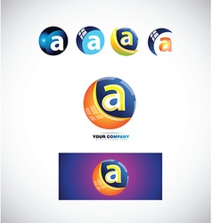 Letter a sphere logo icon 3d vector