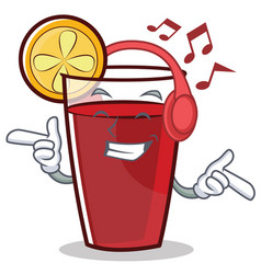 Listening music mulled wine character cartoon vector