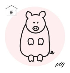 Pig thin line icon vector