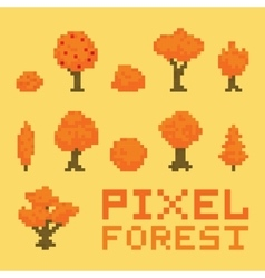 Pixel art forest isolated set vector image vector image
