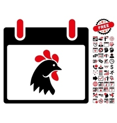 Rooster head calendar day flat icon with vector