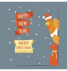 Santa Claus Cock Happy New Year Merry Christmas vector image vector image