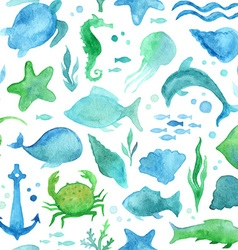 Seamless watercolor sea life pattern vector