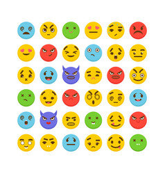 Set of emoticons cute emoji icons flat design vector