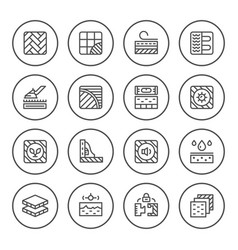 set round line icons of floor vector image