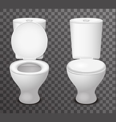 Toilet ceramic seat open closed 3d isolated icon vector