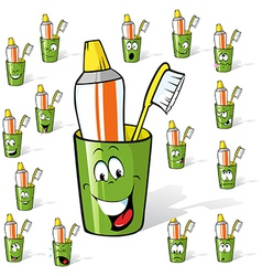 Toothbrush and toothpaste in a cup - cartoon with vector