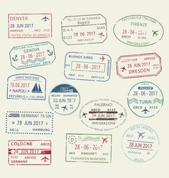 Visa passport stamp symbol set for travel design vector