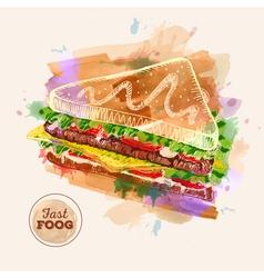 Watercolor hamburger or sandwich fast food sketch vector