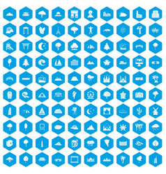 100 view icons set blue vector image