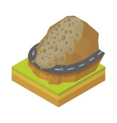 Rockfall icon in cartoon style vector image