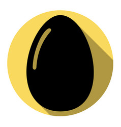 chiken egg sign  flat black icon with flat vector image