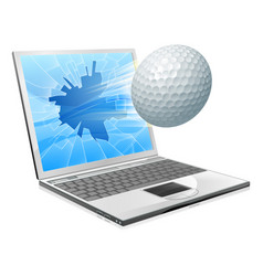 Golf ball laptop screen concept vector