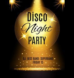 Disco party poster template with shining element vector