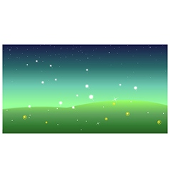 Green landscape at night vector