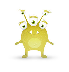 Cute green monster vector