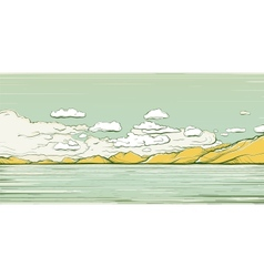 Landscape Background with Clouds and Mountains vector image